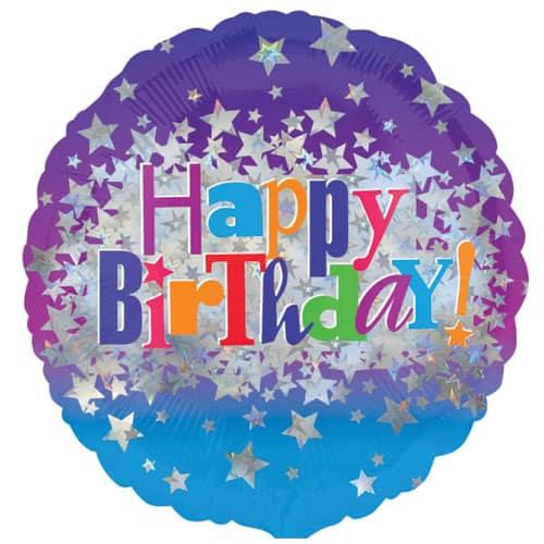 Happy Birthday Stars Round Foil Helium Balloon 46cm / 18Inch Product Image