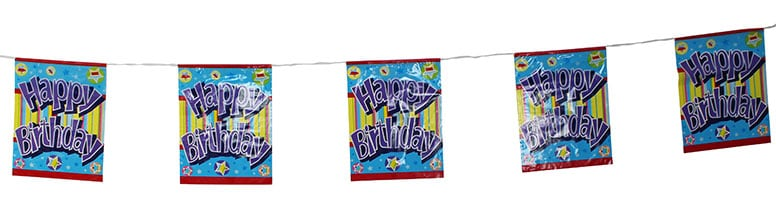 Happy Birthday Stripes and Stars Bunting - 12 Ft / 366cm - 8 Flags
