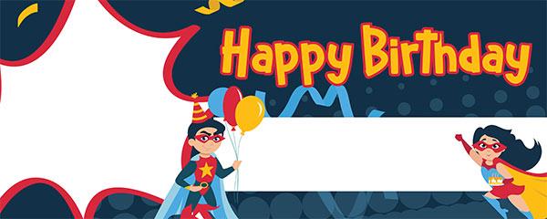 Happy Birthday Superheroes Design Medium Personalised Banner – 6ft x 2.25ft