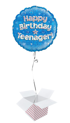 Happy Birthday Teenager Blue Holographic Round Foil Helium Balloon - Inflated Balloon in a Box Product Image