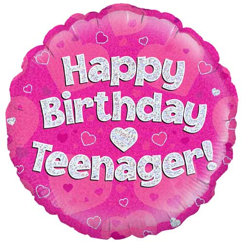 Happy Birthday Teenager Pink Holographic Round Foil Helium Balloon 46cm / 18 in