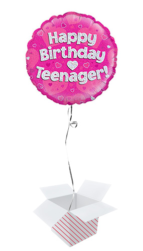 Happy Birthday Teenager Pink Holographic Round Foil Helium Balloon - Inflated Balloon in a Box Product Image