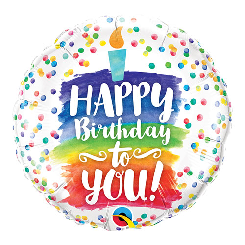 Happy Birthday To You Rainbow Cake Round Foil Helium Qualatex Balloon 46cm / 18 in Product Image