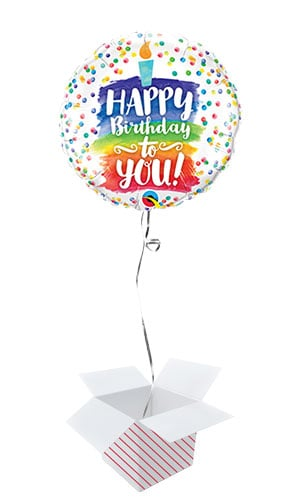 Happy Birthday To You Rainbow Cake Round Foil Helium Qualatex Balloon - Inflated Balloon in a Box Product Image