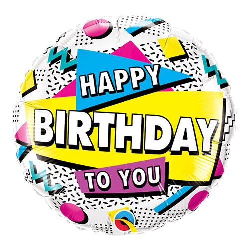 Happy Birthday To You Retro Round Qualatex Foil Helium Balloon 46cm / 18 Inch Product Image