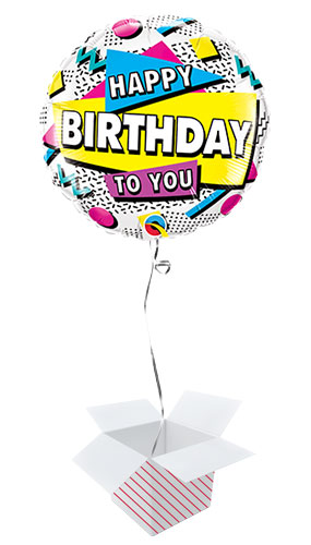 Happy Birthday To You Retro Round Qualatex Foil Helium Balloon - Inflated Balloon in a Box Product Image