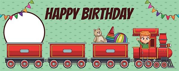 Happy Birthday Train Design Medium Personalised Banner – 6ft x 2.25ft