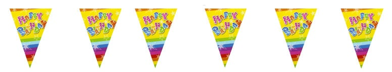 Happy Birthday Triangle Flag Bunting - 12 Ft / 366cm