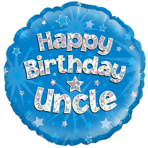 Happy Birthday Uncle Holographic Round Foil Helium Balloon 46cm / 18 in Product Image