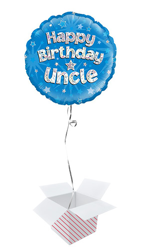 Happy Birthday Uncle Holographic Round Foil Helium Balloon - Inflated Balloon in a Box Product Image