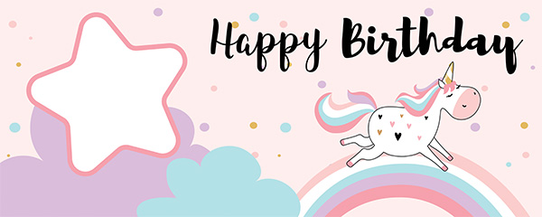 Happy Birthday Unicorn Design Large Personalised Banner – 10ft x 4ft