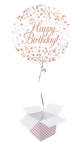Happy Birthday White And Rose Gold Holographic Round Foil Helium Balloon - Inflated Balloon in a Box Product Image