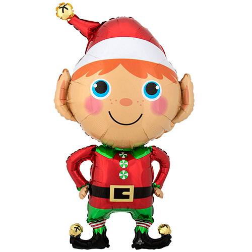 Happy Christmas Elf Helium Foil Giant Balloon 88cm / 35 in Product Image