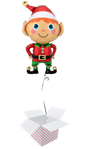 Happy Christmas Elf Helium Foil Giant Balloon - Inflated Balloon in a Box Product Image