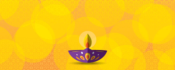 Happy Diwali Candle Yellow Design Small Personalised Banner - 4ft x 2ft