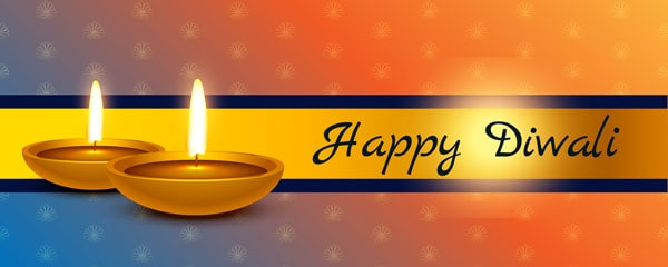 Happy Diwali Candlelights Design Small Personalised Banner - 4ft x 2ft