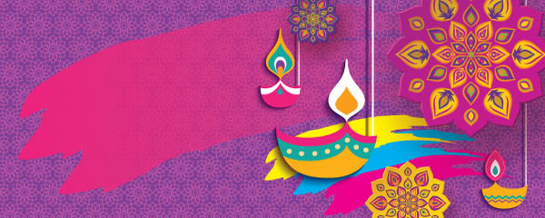 Happy Diwali Candles And Flowers Purple Design Medium Personalised Banner - 6ft x 2.25ft