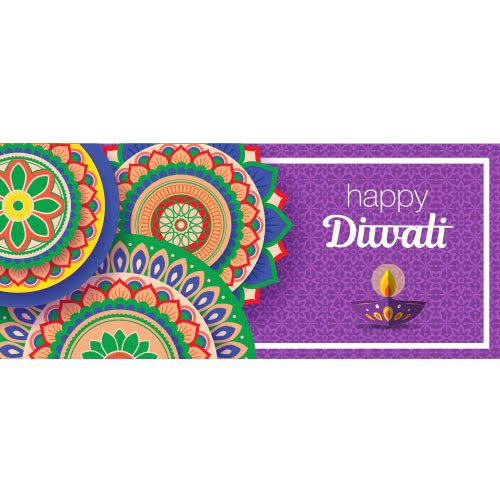 Happy Diwali Candle With Flowers PVC Party Sign Decoration 60cm x 25cm Product Image