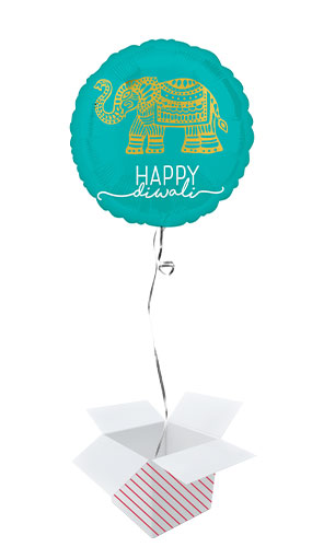 Happy Diwali Celebration Round Foil Helium Balloon - Inflated Balloon in a Box Product Image
