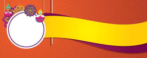 Happy Diwali Circle Orange Design Medium Personalised Banner - 6ft x 2.25ft