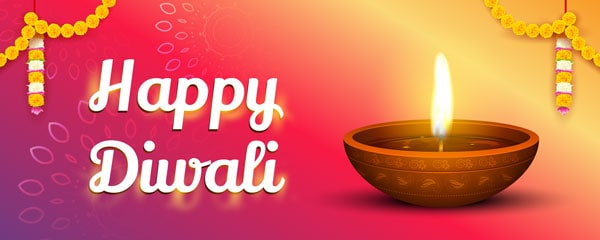 Happy Diwali Garlands Design Small Personalised Banner - 4ft x 2ft