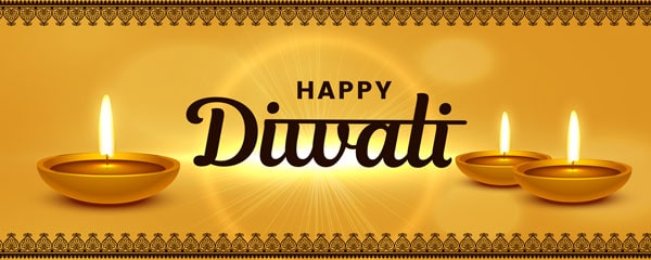 Happy Diwali Gold Design Small Personalised Banner - 4ft x 2ft