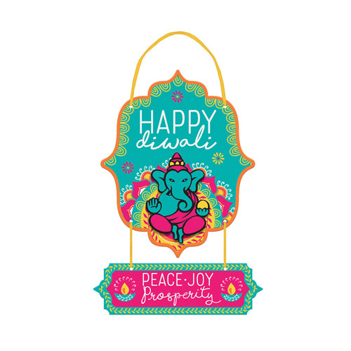 Happy Diwali MDF Hanging Sign 33cm Product Image
