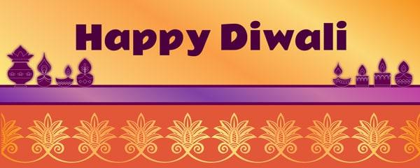 Happy Diwali Ornamental Design Medium Personalised Banner - 6ft x 2.25ft