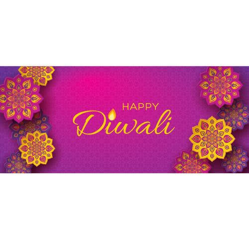 Happy Diwali Traditional Flowers PVC Party Sign Decoration 60cm x 25cm