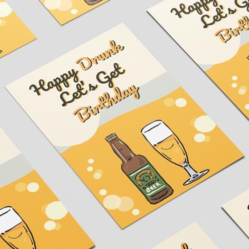 Happy Drunk Birthday Adult A3 Poster PVC Party Sign Decoration 42cm x 30cm Product Image