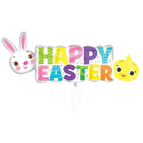 Happy Easter Banner Helium Foil Giant Balloon 111cm / 44 in Product Image