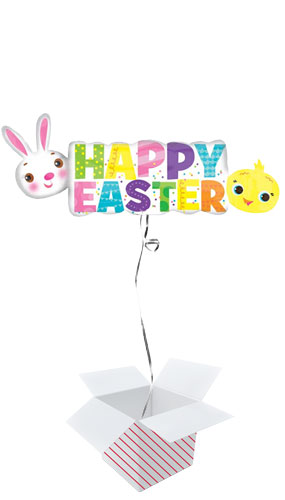 Happy Easter Banner Helium Foil Giant Balloon - Inflated Balloon in a Box Product Image