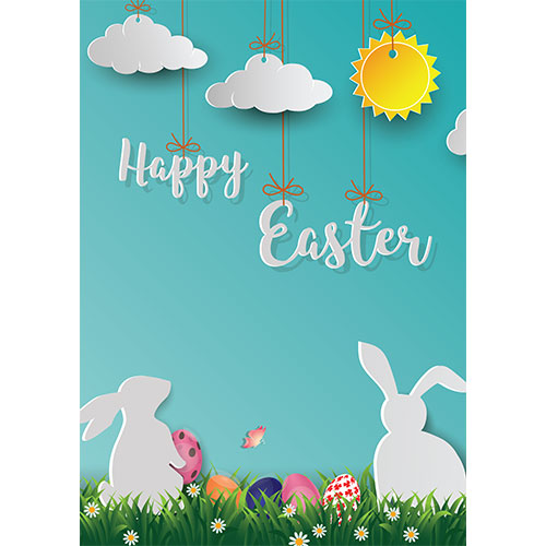 Happy Easter Bunnies & Clouds A2 Poster PVC Party Sign Decoration 59cm x 42cm Product Gallery Image