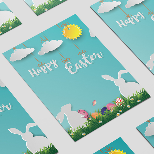 Happy Easter Bunnies & Clouds A2 Poster PVC Party Sign Decoration 59cm x 42cm Product Image
