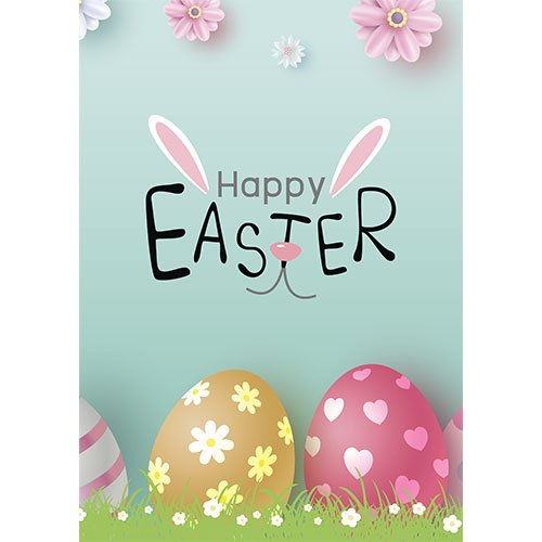 Happy Easter Bunny Ears & Nose A2 Poster PVC Party Sign Decoration 59cm x 42cm Product Gallery Image