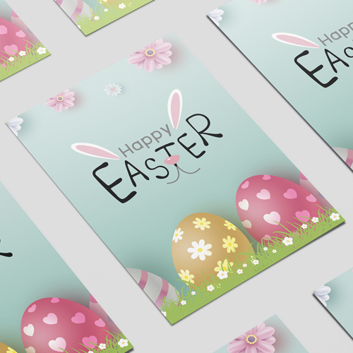 Happy Easter Bunny Ears & Nose A2 Poster PVC Party Sign Decoration 59cm x 42cm Product Image