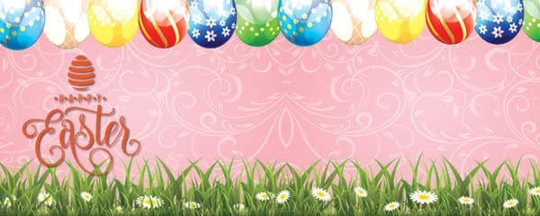 Happy Easter Eggs And Spring Flowers Design Medium Personalised Banner - 6ft x 2.25ft
