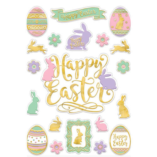 Happy Easter Pastel Embossed Window Decorations