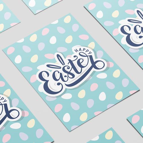 Happy Easter Mini Pastel Eggs A2 Poster PVC Party Sign Decoration 59cm x 42cm Product Image
