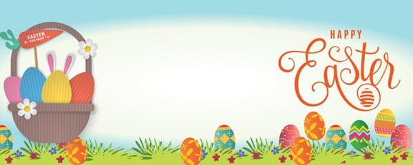 Happy Easter Spring Field Design Small Personalised Banner - 4ft x 2ft