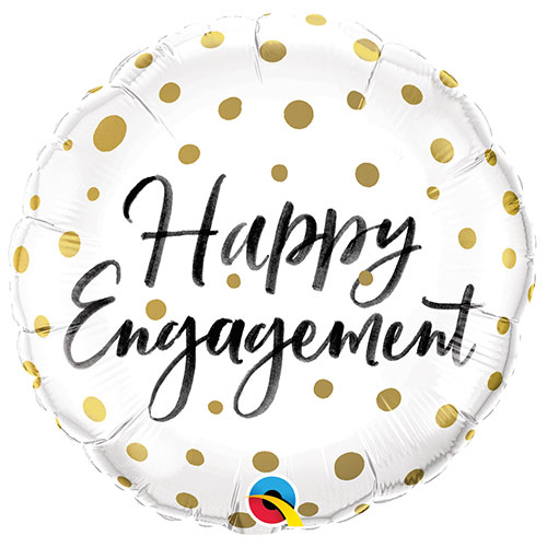Happy Engagement Gold Dots Round Foil Helium Qualatex Balloon 46cm / 18 in Product Image