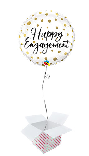 Happy Engagement Gold Dots Round Foil Helium Qualatex Balloon - Inflated Balloon in a Box