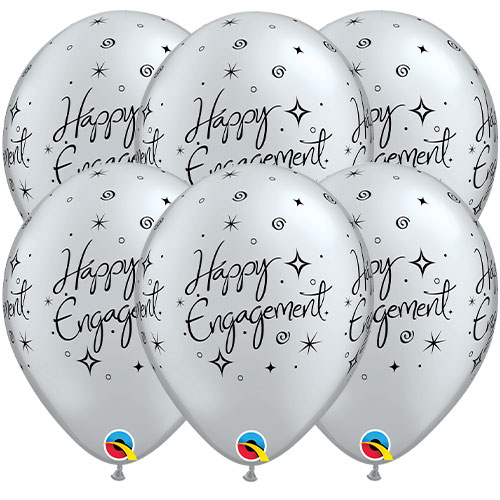 Happy Engagement Sparkles Latex Helium Qualatex Balloons 28cm / 11 in - Pack of 6