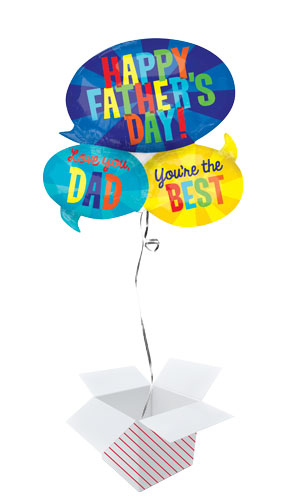 Happy Father's Day Messages Helium Foil Giant Balloon - Inflated Balloon in a Box Product Image