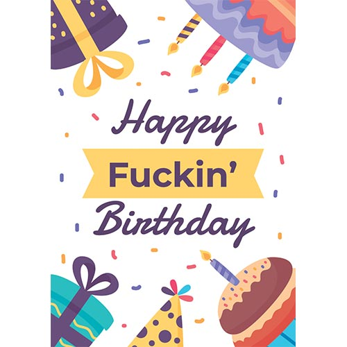 Happy Fuckin' Birthday Adult A3 Poster PVC Party Sign Decoration 42cm x 30cm Product Gallery Image