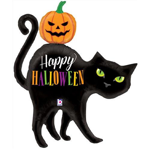 Happy Halloween Cat Shaped Foil Giant Balloon 112cm / 44 in