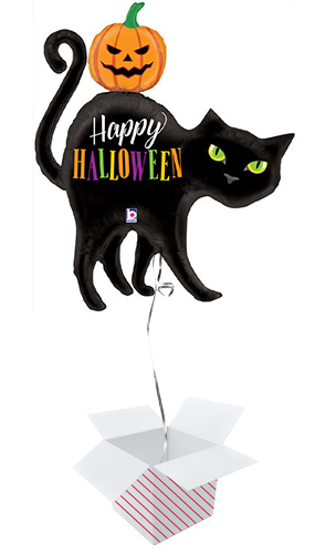 Happy Halloween Cat Shaped Foil Giant Balloon - Inflated Balloon in a Box Product Image