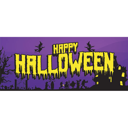 Happy Halloween Haunted House PVC Party Sign Decoration 60cm x 25cm Product Image