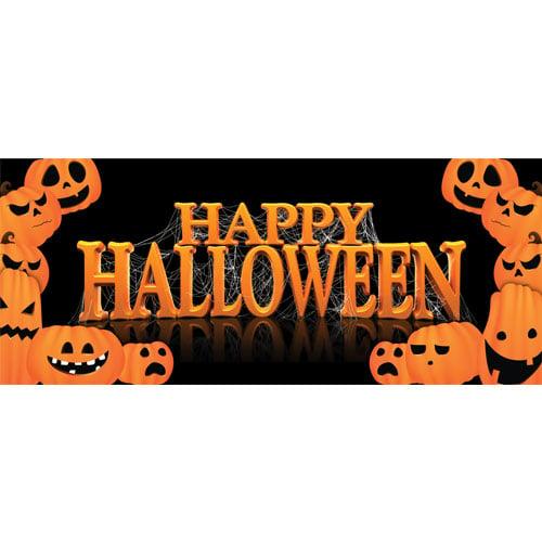 Happy Halloween Pumpkins PVC Party Sign Decoration 60cm x 25cm Product Image