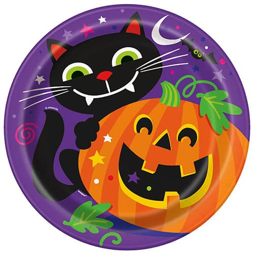 Happy Halloween Round Paper Plates 22cm - Pack of 8